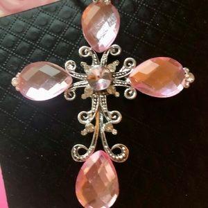 Betsey Johnson Jewelry - Pink Silver Cross Betsey Johnson Necklace 28
